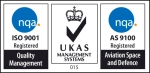ISO and AS9100 logos either side of UKAS logo